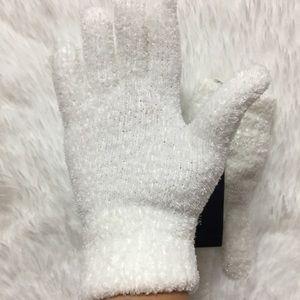 NWT Charter Club Fuzzy Winter Gloves Ivory Women's